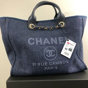 Chanel Large Shopping Bag Deauville Dark Blue NEW!